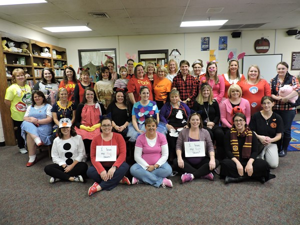The faculty and staff get  involved and dress as storybook characters,